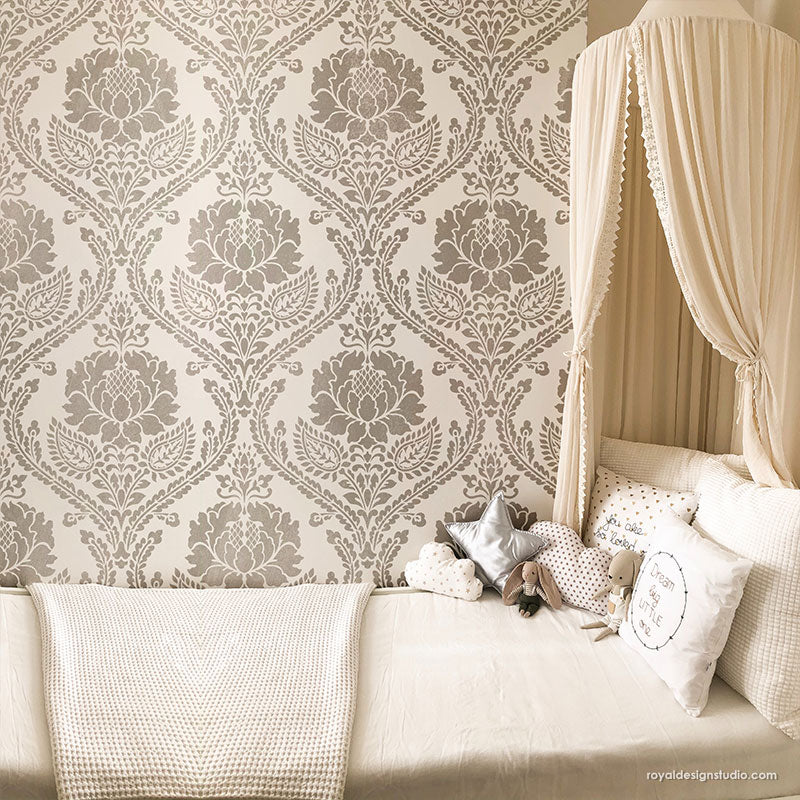 Shabby Chic Wall Decor Farmhouse Wallpaper Wall Stencils Classic Damask Stencils - Royal Design Studio