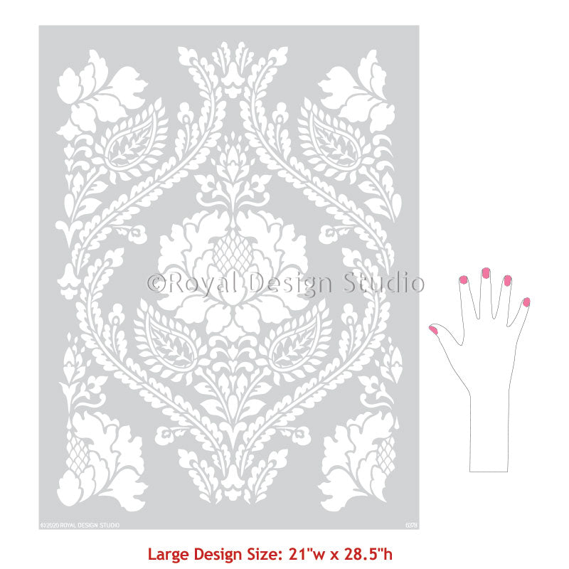 Custom Wallpaper Design Wall Stencils Painted Damask Pattern Stencils - Royal Design Studio