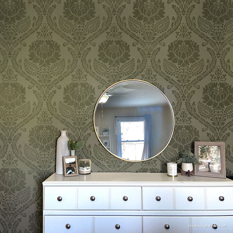 Classic Damask Wall Stencils - Farmhouse Style Wall Paint Stencils - Royal Design Studio