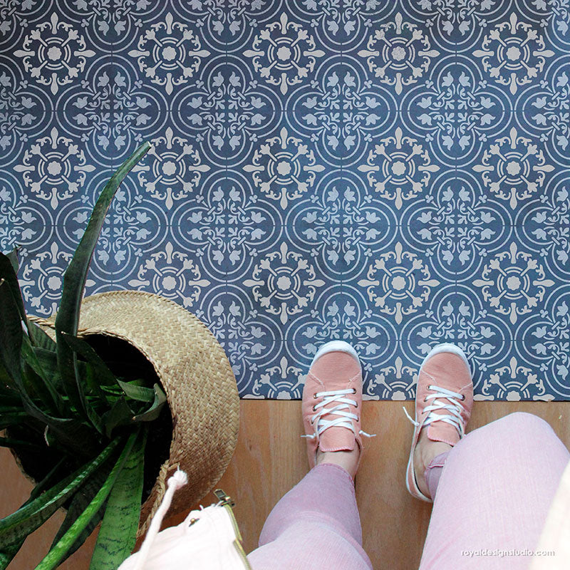Blue Tiles Floor Stencil for Painting - Bohemian Stencils - Large Tile Stencils Paint Floors - Royal Design Studio