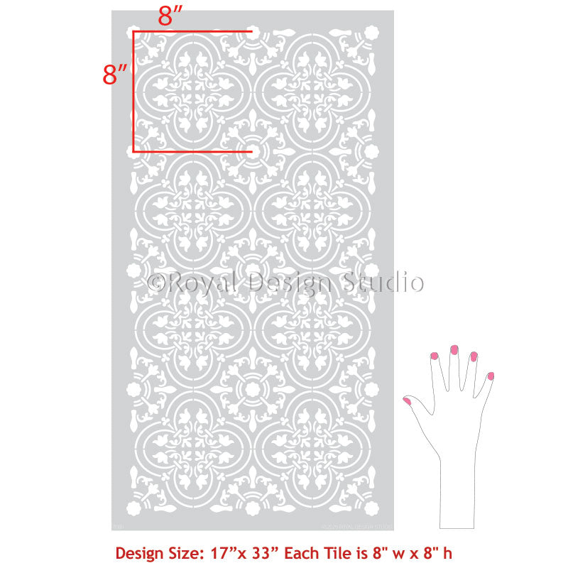 Paint Stencils for Bathroom Tiles - Floor Stencils Paint Tiles - Large Floor Tile Stencils - Royal Design Studio