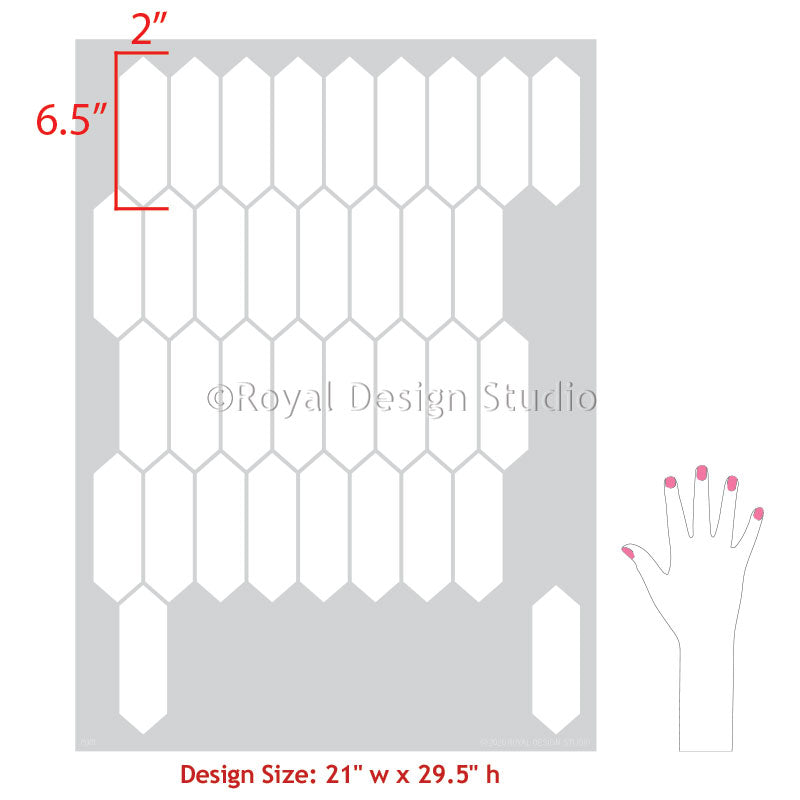 Large Stencils for Painting Bathroom Tiles and Kitchen Tile Backsplash Pattern Stencils - Royal Design Studio royaldesignstudio.com