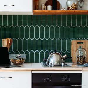 Hexagon Subway Tiles Paint Stencils for DIY Kitchen Design or DIY Bathroom Decor - Royal Design Studio royaldesignstudio.com