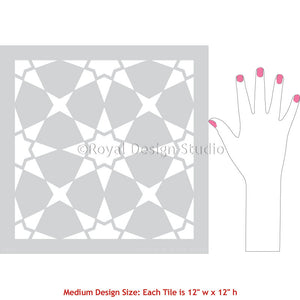 Tile Painting Stencils for DIY Bathroom Floor Project - Royal Design Studio royaldesignstudio.com