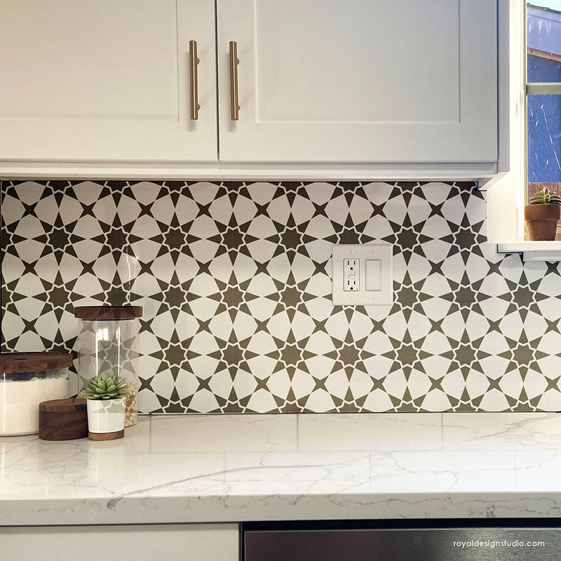 DIY Kitchen Backsplash Tiles Black and White Tile Stencils for Painting Kitchen Tiles - Royal Design Studio royaldesignstudio.com