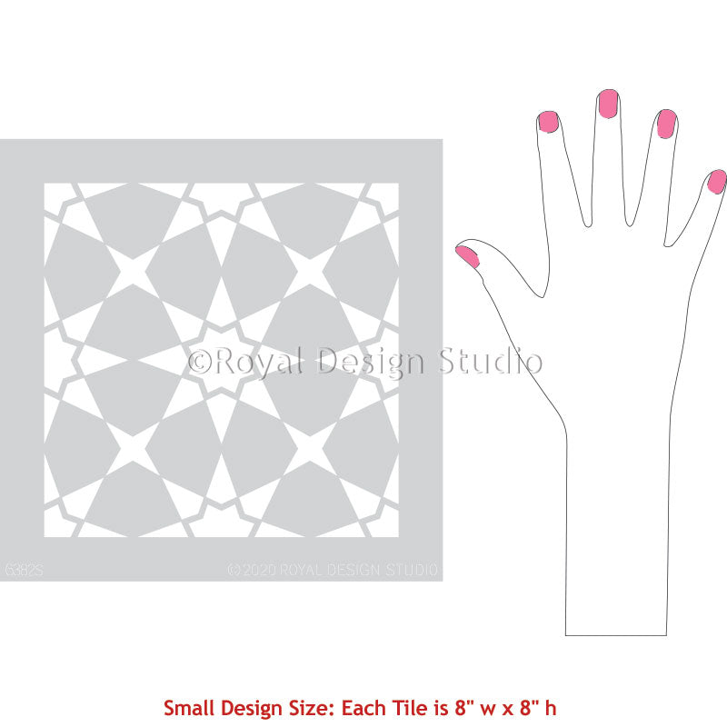 Moroccan Star Tile Design Custom Floor Painting Stencils - Royal Design Studio royaldesignstudio.com