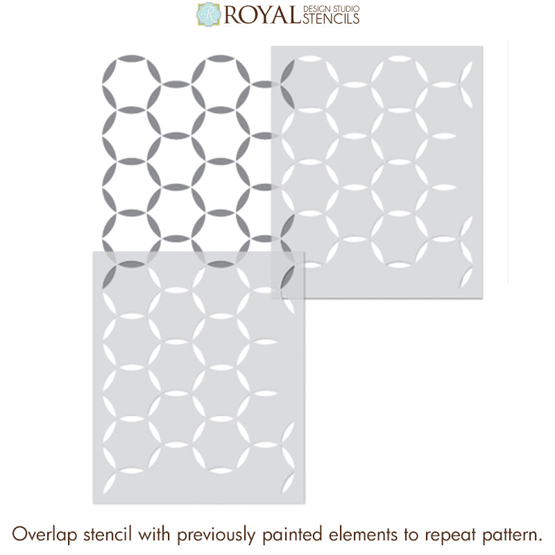 NEW! Around in Circles Allover Tile Stencil