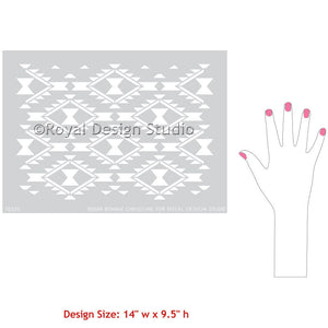 Geometric South West and Western Designs - Navajo Dreams Damask Furniture Stencils - Royal Design Studio