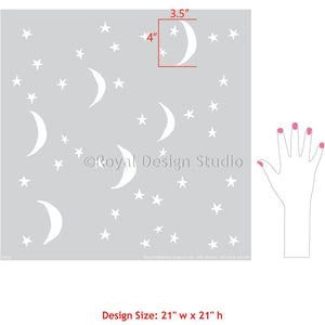 Nursery or Kids Room Decorating with Moon and Stars - Night Sky Wall Stencils - Royal Design Studio