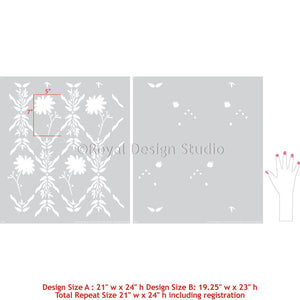 Decorative Wall Stencils with Colorful Flower Designs - Royal Design Studio