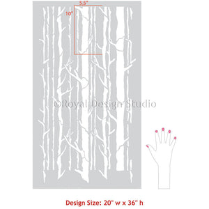Nature Theme Room Makeover and Painting Walls with Tree Wallpaper Stencils - Royal Design Studio