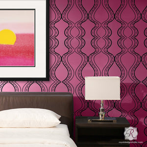 Modern and Retro Damask Wallpaper on Accent Wall - Bold Pink Wall Stencils for DIY Painting - Royal Design Studio