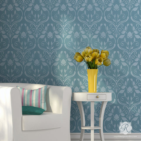 Romantic Flower And Vine Damask Wall Stencil Pattern