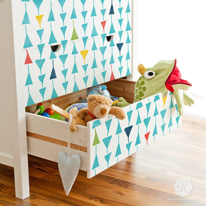 Geometric Triangles Furniture Stencils for Kids Room Decor - Royal Design Studio