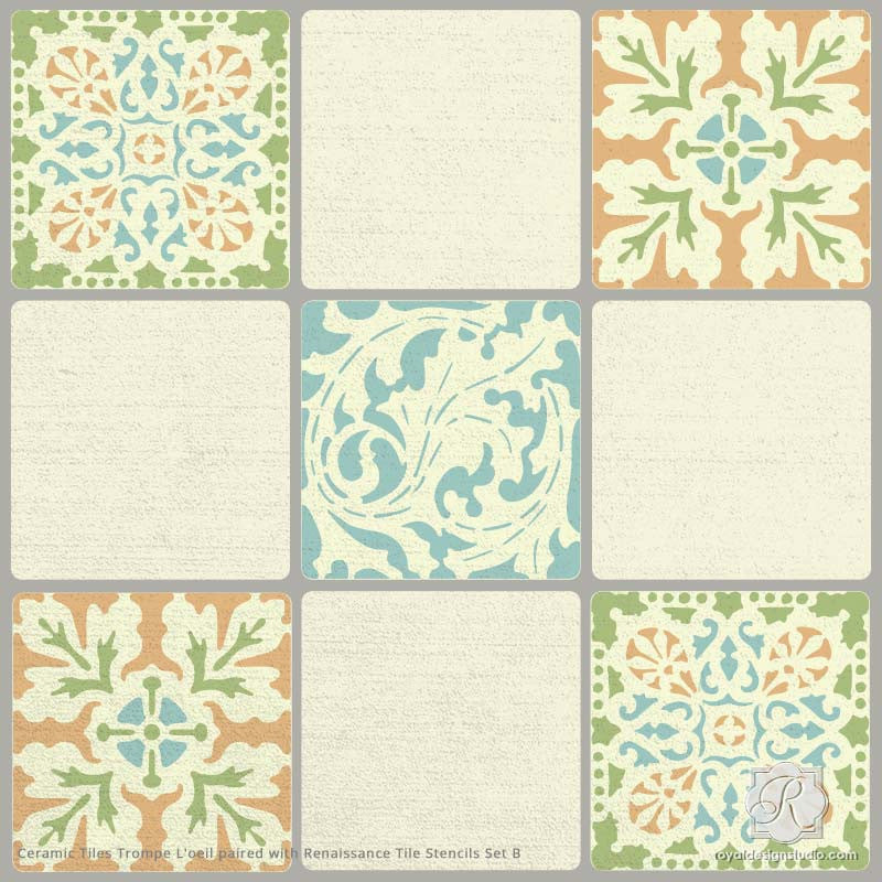 ceramic tiles trompe lu0027oeil wall stencil for realistic tile wall art and painted floors