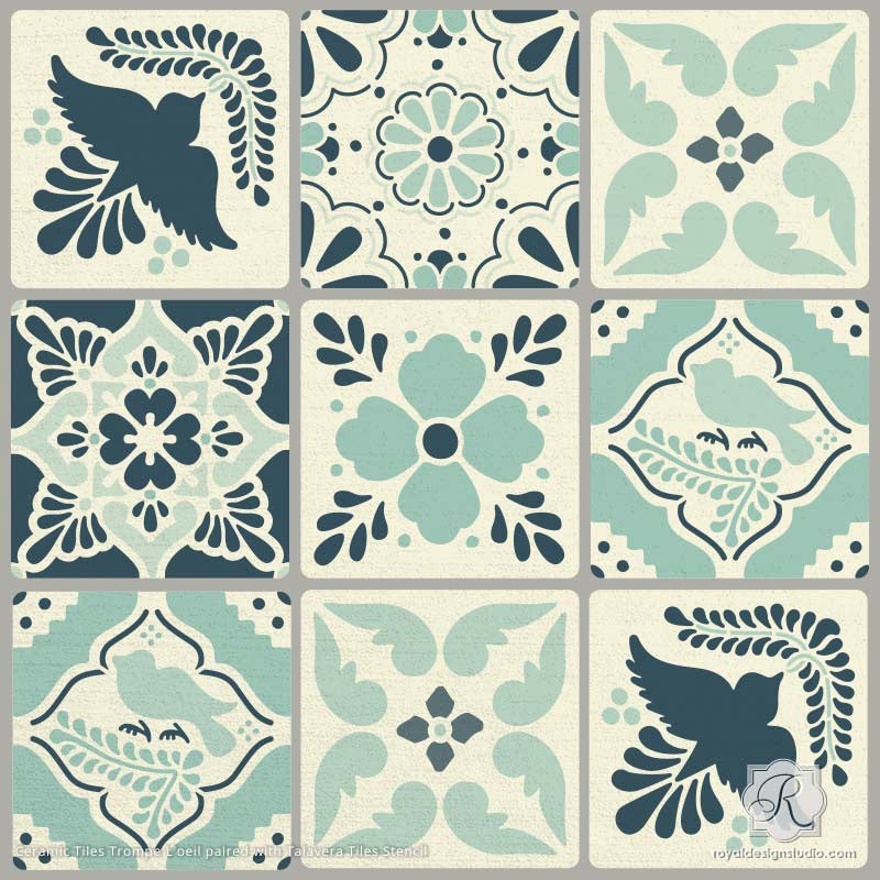 DIY Mexican Talavera Tile Furniture Stencils on Ceramic Tile Stencil - Royal Design Studio