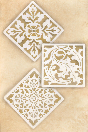 Classic European Tiles Stencils for Painting Walls and Furniture