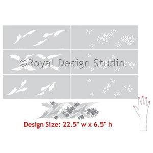 Beautiful Floral Border for Walls - Vine Leaves English Flowers Stencils and Nature Border Stencils