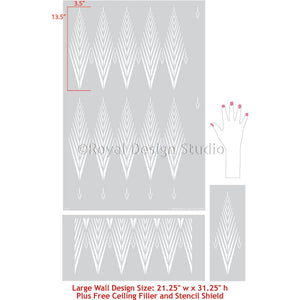 Easy to Use Wall Stencils - African Plumes Tribal Pattern Stencil for Wall Paint Projects - Royal Design Studio Stencils Large