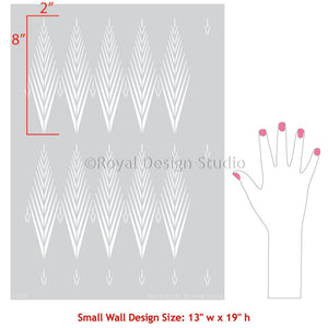 Easy to Use Wall Stencils - African Plumes Tribal Pattern Stencil for Wall Paint Projects - Royal Design Studio Stencils
