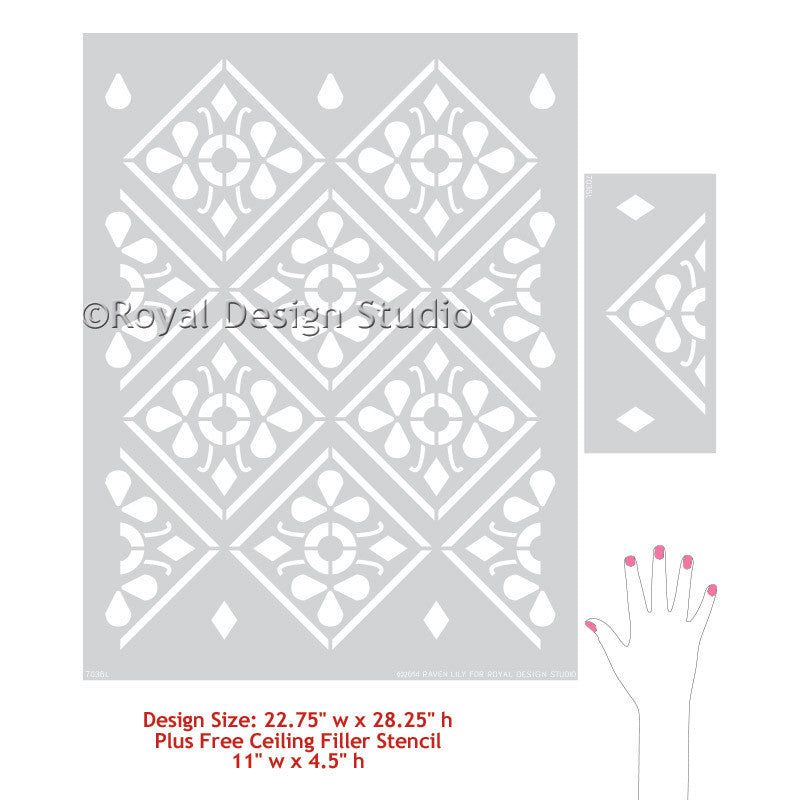 Paint an Accent Wall with Anisa Embroidery Damask Wall Stencils - Geometric Indian Exotic Flower Stencils - Royal Design Studio
