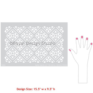 Decorating Table or Dresser with Stencils - Anisa Embroidery Damask Furniture Stencils - Geometric Indian Exotic Flower Stencils - Royal Design Studio