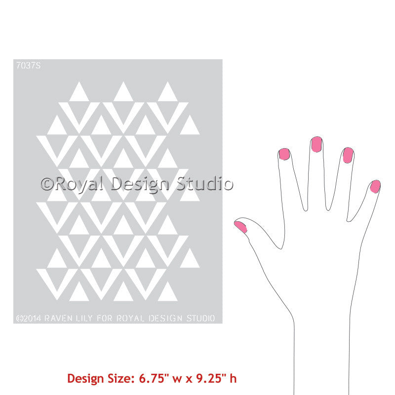 Furniture Stencils with Geometric Triangle Designs