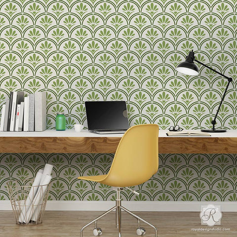 Large Designer Wallpaper Wall Stencils With Flower Scallop Design   Fanfare  Scallop Wall Stencils   Royal