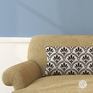 DIY Pillows Painted with Modern Retro Patterns - Flower Scallop Design Furniture Stencils - Royal Design Studio