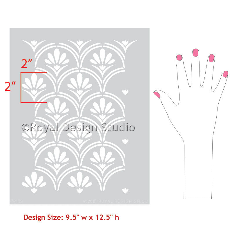 Easy Painting with Flower Scallop Furniture Stencils - Royal Design Studio