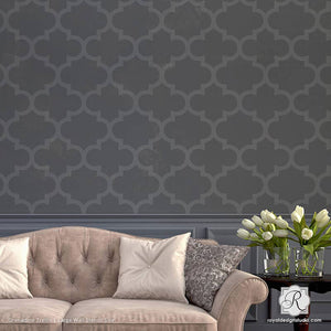 Large Wallpaper Wall Stencils with Exotic Trellis Design - Royal Design Studio