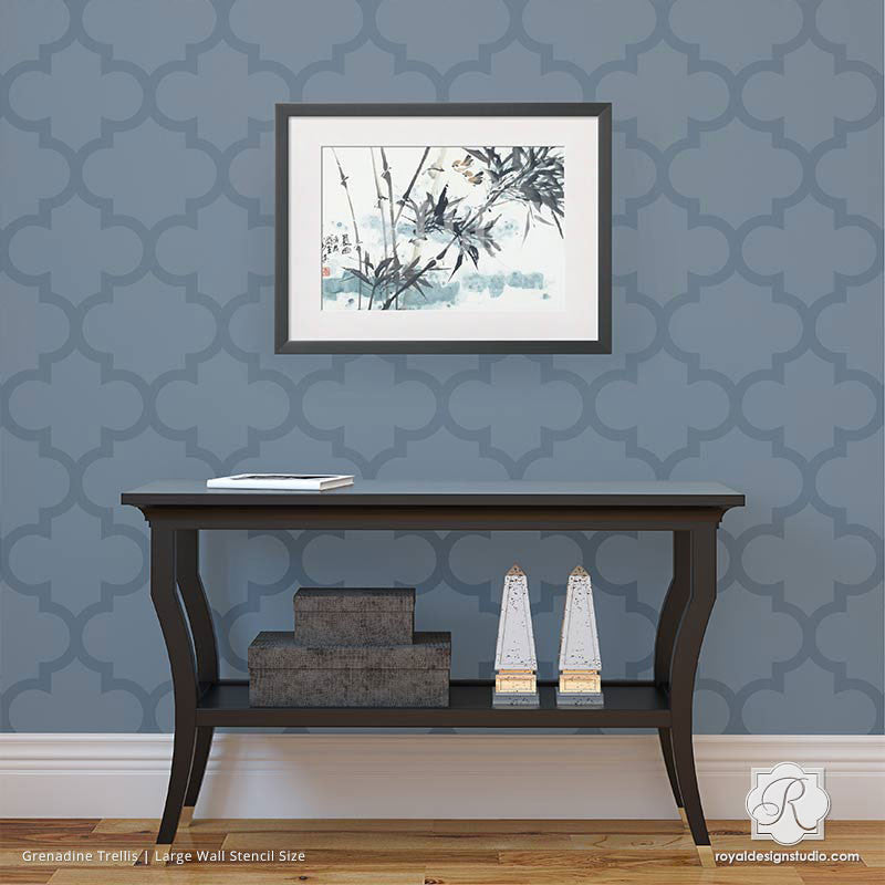 Decorate a Living Room Accent Wall with Elegant Trellis Stencils with Exotic Patterns - Royal Design Studio