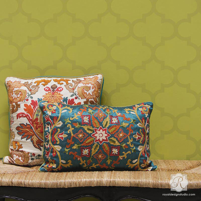 Exotic Trellis Pattern and Decorating Accent Wall with Wall Stencils - Royal Design Studio