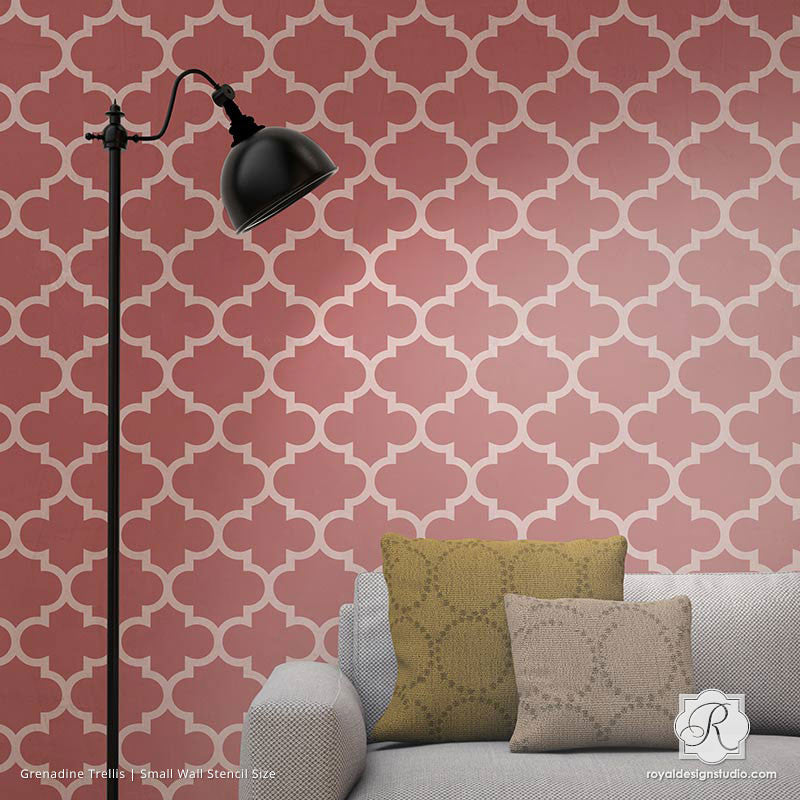 Chic Moroccan or European Trellis Wallpaper Wall Stencils - Royal Design Studio