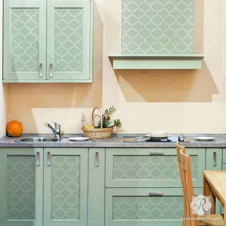 Moroccan and European Design Painted on Furniture and Kitchen Cabinets - Trellis Furniture Stencils - Royal Design Studio