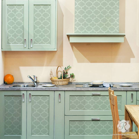 Moroccan And European Design Painted On Furniture And Kitchen Cabinets    Trellis Furniture Stencils   Royal