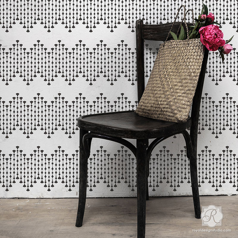 Bold Glam Girls Room Decorated with Dot Border Wall Stencils - Royal Design Studio