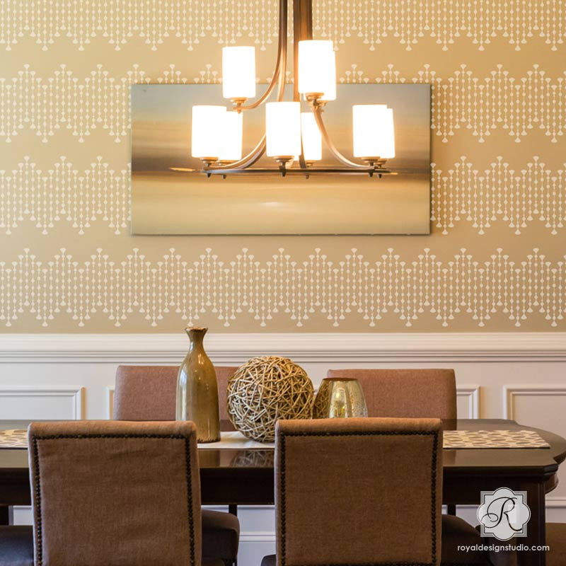 Painting Allover Border Stencils on Dining Room Accent Wall - Royal Design Studio
