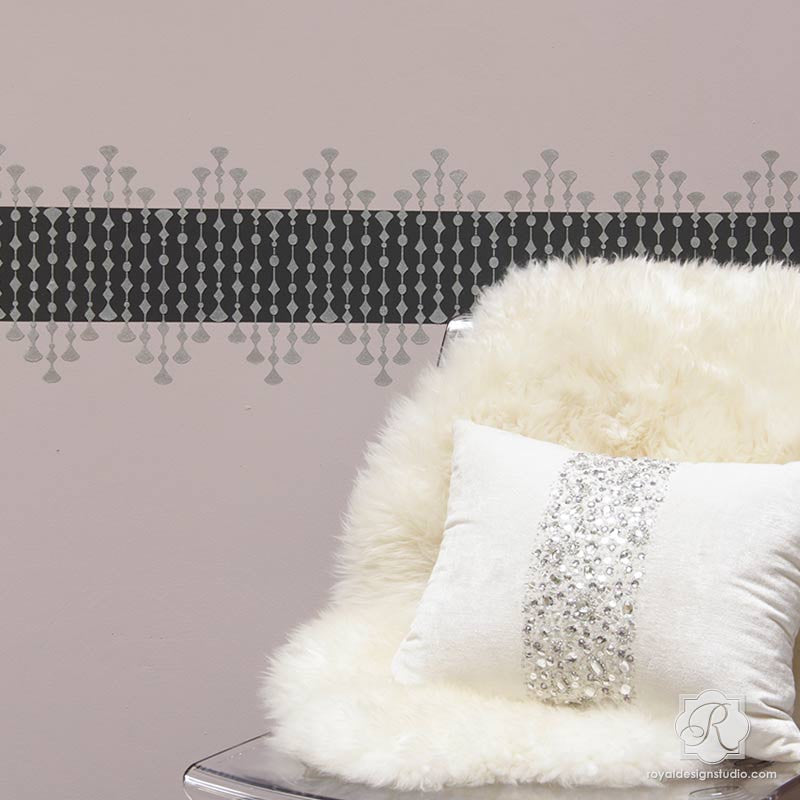 Metallic Glam Girls Room Decorated with Dot Border Wall Stencils - Royal Design Studio