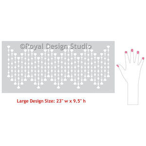 Fitzgerald Jeweled Beads Raven + Lily Wall Border Stencil