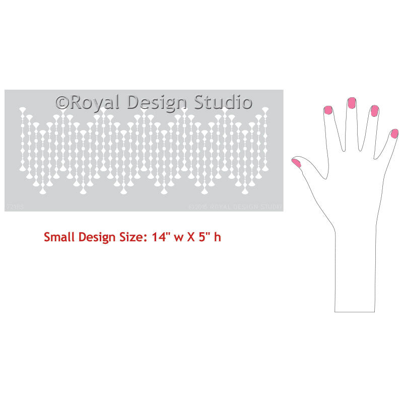 Paint a modern dot pattern and border design with furniture stencils - Royal Design Studio