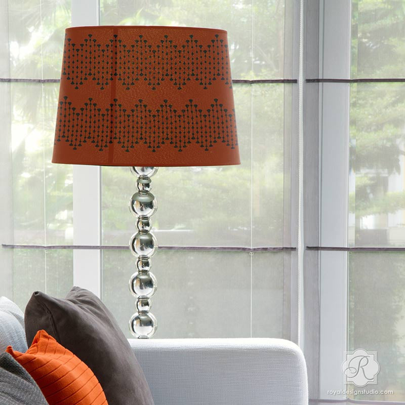 DIY painted and stenciled lampshade with custom border pattern - Furniture Border Stencils - Royal Design Studio