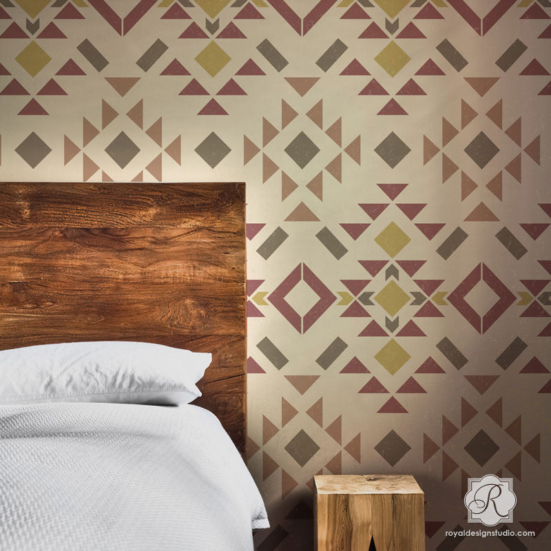 Western Wallpaper Designer Wall Stencils To Paint Rustic Or Modern Accent