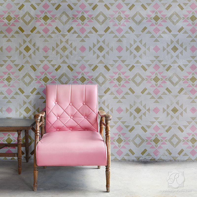 Geometric Western Designer Wallpaper Wall Stencils | Royal Design ...