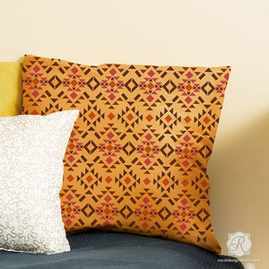 DIY Painted Pillow and Small Decor Projects Stenciled with Geometric Rustic Furniture Stencils - Royal Design Studio