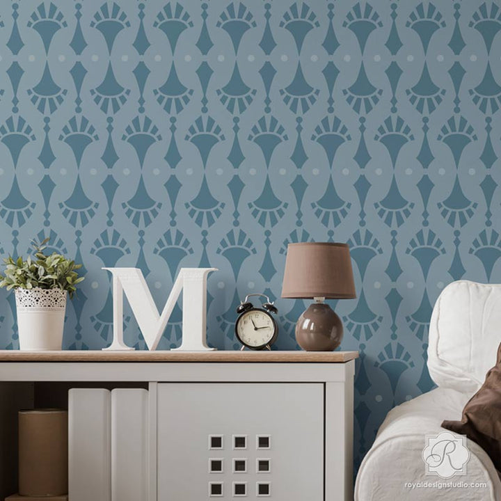 Designer Wallpaper Wall Stencils for Modern DIY Decorating Accent Wall - Royal Design Studio