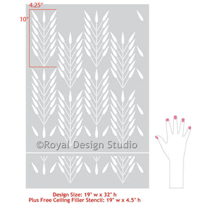 Large wall stencils for painting bedroom or living room accent wall with tribal design - Royal Design Studio