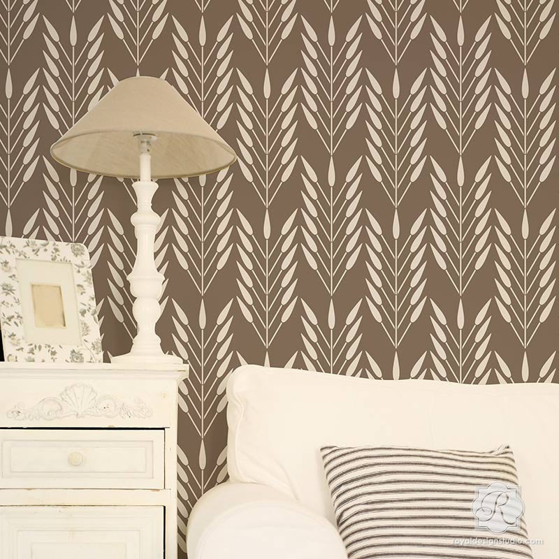 DIY wallpaper look using African design and large wall stencils - Royal Design Studio