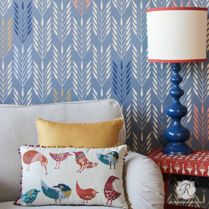 Paint an accent wall with nature designs such as feathers or bundles of wheat - Colorful wall stencils for decorating - Royal Design Studio