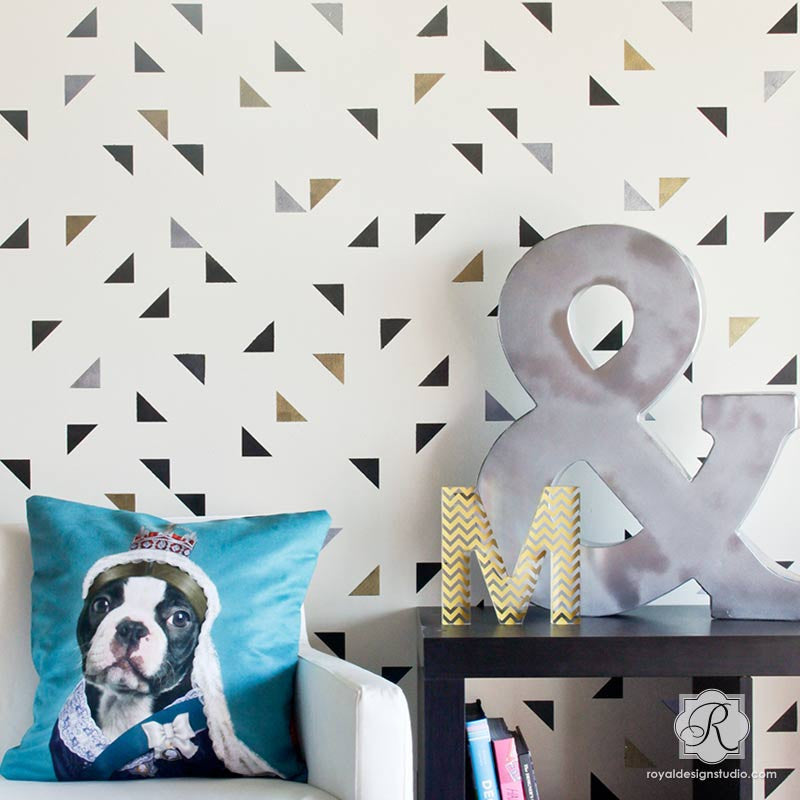 Boy Bedroom Paint Bedroom Canvas Wall Art Girls Bedroom Decor Ideas Modern Kids Bedroom Ceiling Designs: Painted Geometric Triangles Wallpaper Wall Stencils
